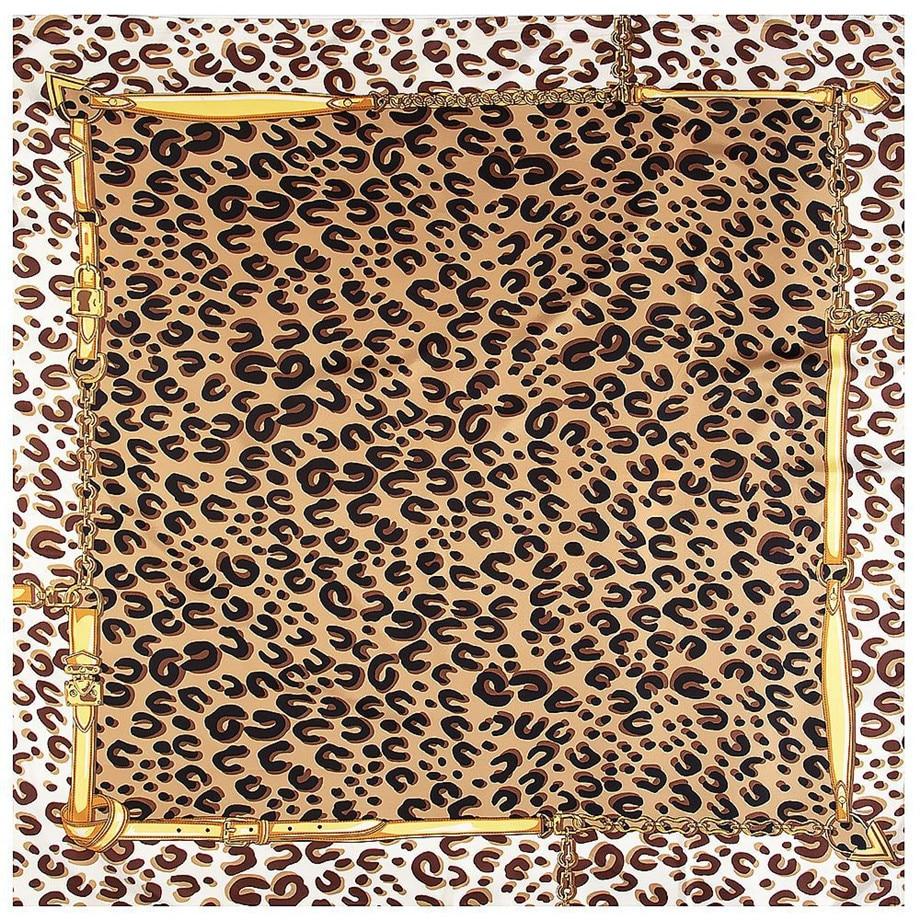 Classic Leopard Print Luxury Brand Scarf 2020 New Winter Scarf Twill Silk Square Scarf Women Kerchief Shawl Scarves For Ladies