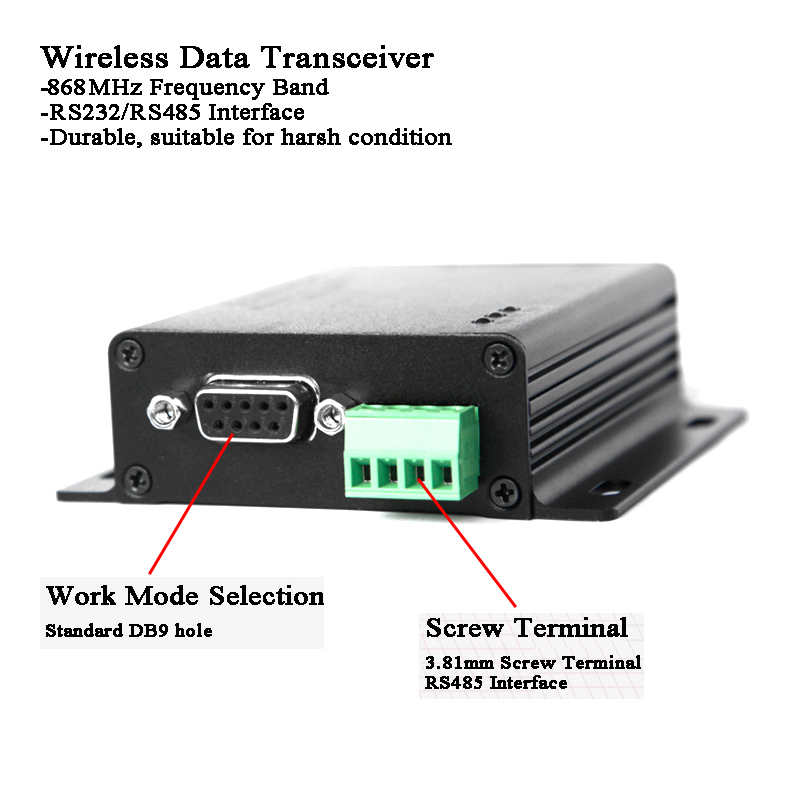 3km 868MHz Lora Wireless Data Transmission RF Module RS485/RS232 Data Encryption Transmitter/Receiver Industrial Remote Control