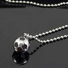 New Stainless Steel Sports Soccer Ball Pendant Football Necklace Metal Link Chain Men Women Jewelry