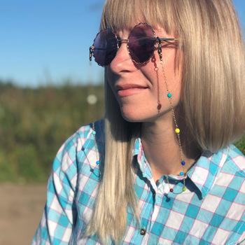 Smycz do okularów kolorowe koraliki łańcuszek do okularów modne okulary pasek okulary sznury Casual akcesoria do okularów DJ-171 tanie i dobre opinie WOMEN Łańcuchy i smycze Okulary akcesoria 70CM Ze stopu cynku