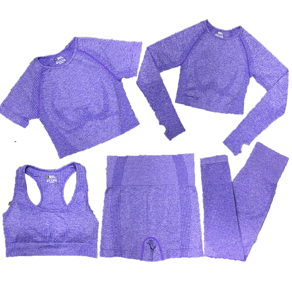 5pcs Women Vital Seamless Yoga Set Workout Sport Wear Gym Clothes Short / Long Sleeve Crop Top High Waist Sports Leggings Suit