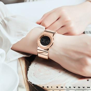 Reloj Digital De Acero Inoxidable | Relojes De Pulsera De Mujer De Moda De Alta Calidad De Oro Rosa De Acero Inoxidable Resistente Al Agua Marca Superior De Lujo Reloj Deportivo Digital Para Damas