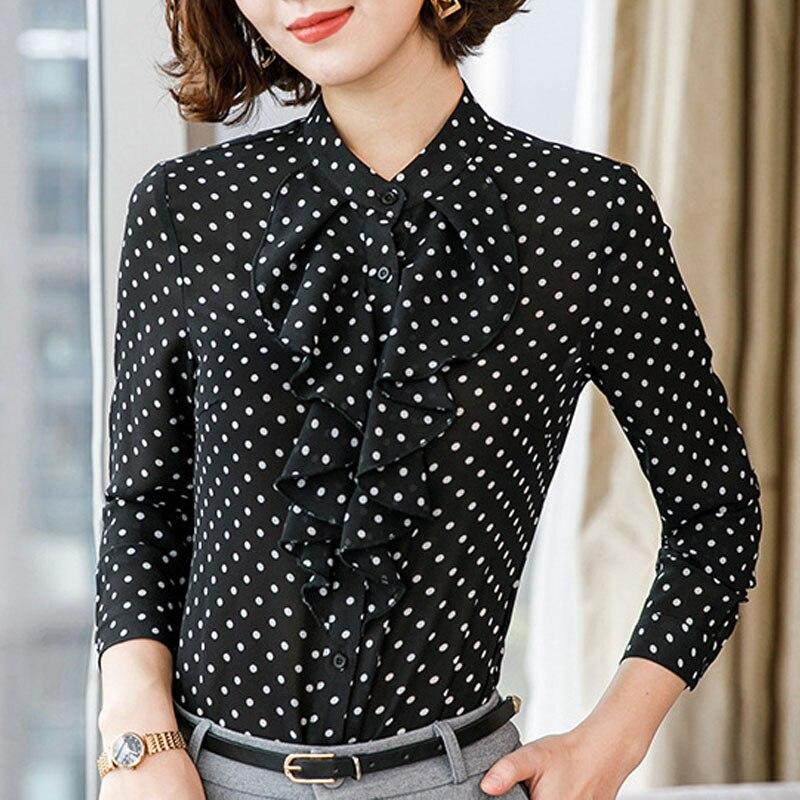 Women Casual polka dots blouse Chiffon long sleeve office ladies  Button Shirt black tops plus size Black Women Clothing (3)