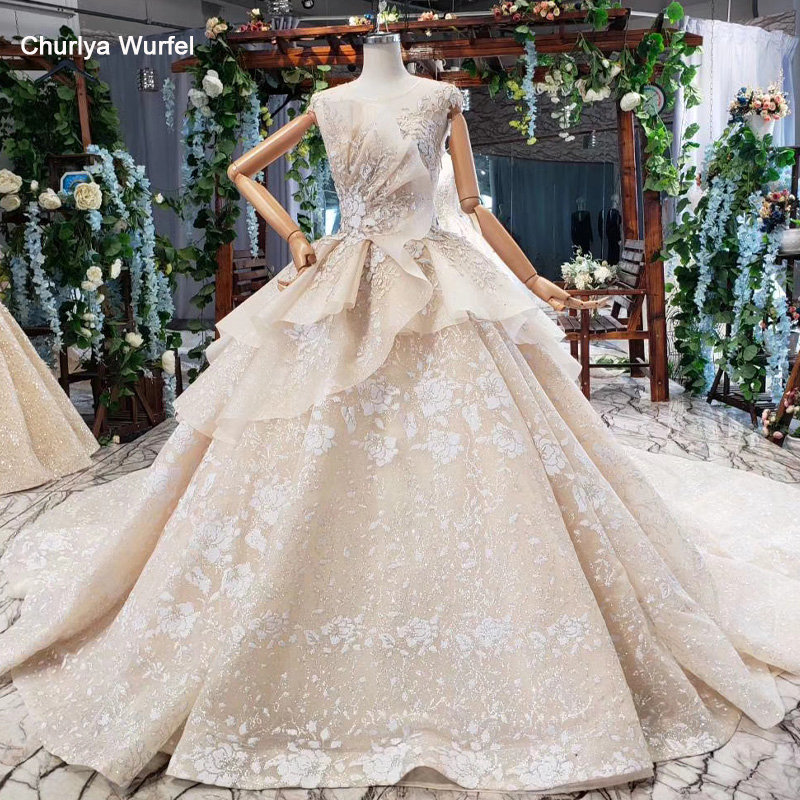 HTL761 Luxury Ball Gown Wedding Dress O-neck Appliques Tiered Open Back Cap Sleeve Special Bridal Dress Elegant Vestido Longo