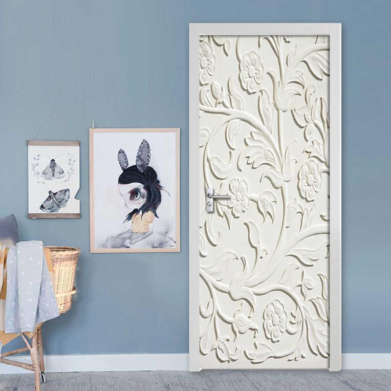 2 unids/set 3DWhite flores en relieve pegatinas de la puerta de la pared DIY Mural dormitorio decoración del hogar cartel PVC impermeable etiqueta engomada de la puerta