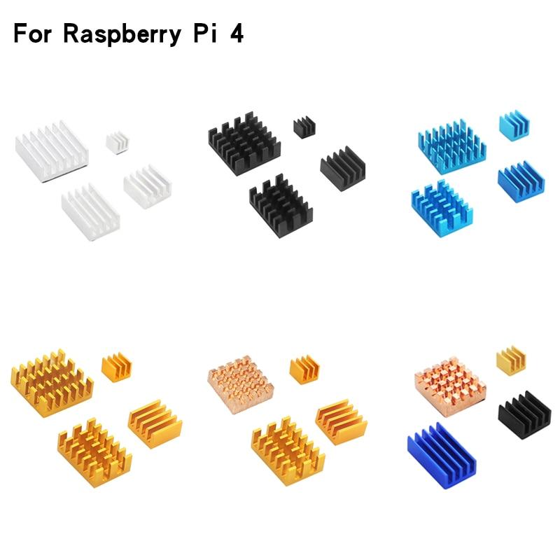 4pcs Raspberry Pi 4 Model B Aluminum Heat Sink Silver Black Gold Blue Multicolor Heatsink Radiator Cooling Kit  For RPi 4B