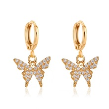 New earrings temperament  small butterfly ear buckle female super fairy forest simple net red