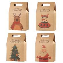 Hemoton 16PCS Christmas Treat Bags Kraft Paper Candy Cookie Gift Bags