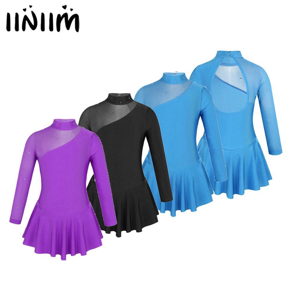Iiniim Kids Girls Tulle Ballerina Splice Cutouts Back Figure Ice Skating Lyrical Dance Costume Gymnastics Leotard For Kids Dress