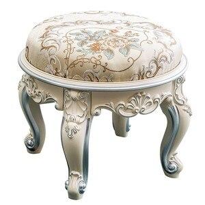Taburete de mesa redonda de té, taburete tallado, taburete de cambio de zapatos, taburete bajo para sala de estar del hogar