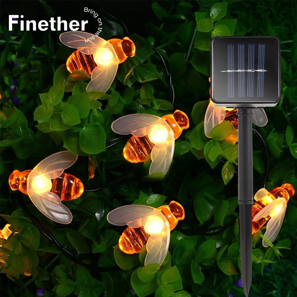 New Solar Powered Cute Honey Bee Led String Fairy Light 20leds 30leds Bee Outdoor Garden Fence Patio Christmas Garland Lights-in LED String from Lights & Lighting on