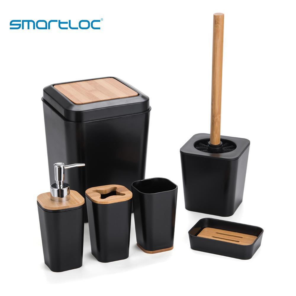 Set Of 6 Smartloc Plastic Bathroom Accessories Set Toothbrush Holder Toothpaste Dispenser Case Soap Box Shower Storage Black