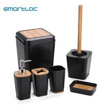 Conjunto de 6 smartloc cuarto de baño de plástico accesorios titular de cepillo de dientes de dispensador de pasta de dientes caso caja de jabón de la ducha de negro
