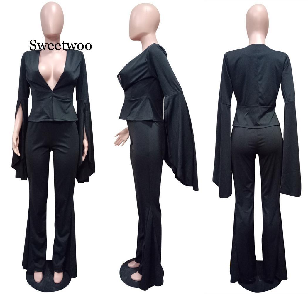 Women Elegant Suits Trouser Split  Long Sleeve Blazer and Pants Suits Fashion Solid Irregular Two Piece Suits