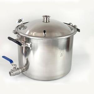 Image 2 - 25L Pentola, Caldaia, Carro Armato, Fermentatore con Coperchio Campana di Distillazione, Rettifica, Sanitari Acciaio Inox 304