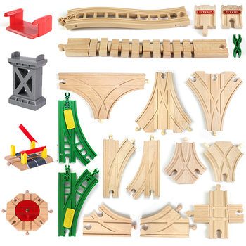 цены Wooden Train Accessories Wood Toys for Children Compatible Educational Wooden Toy Blocks Truck Suit for Thoma Assemble Kids Gift