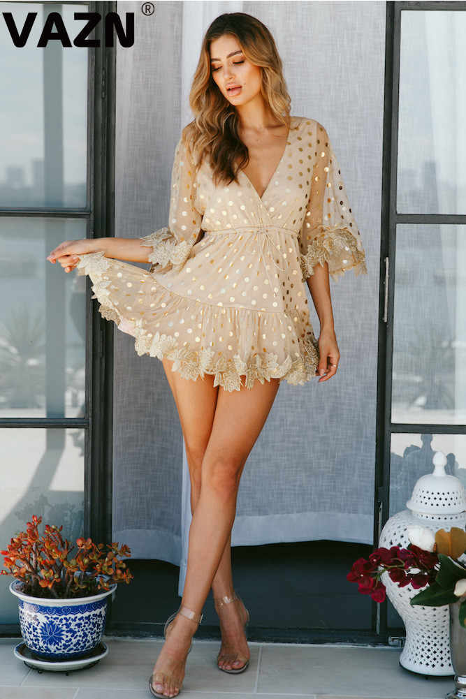 VAZN 2020 새로운 패션 매일 젊은 섹시한 멋진 달콤한 패션 솔리드 v-목 하프 슬리브 하이 웨스트 브레이드 여성 라인 미니 드레스
