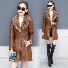 Leather Jacket Women Suede Coat Female 2019 Winter Long Sleeve Faux Leather Coat Motorcycle Fur Jacket Ladies PU Coat Plus Size plus size faux leather panel coat
