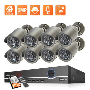Techage H.265 8CH 2MP POE Security Camera System 1080P POE NVR Kit P2P CCTV Video Surveillance Outdoor Audio Record IP Camera