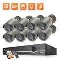 Techage H.265 8-канальная 2-мегапиксельная камера слежения POE 1080P POE NVR Kit P2P CCTV Набор видеонаблюдения Наружная запись звука камеры наблюдения набор