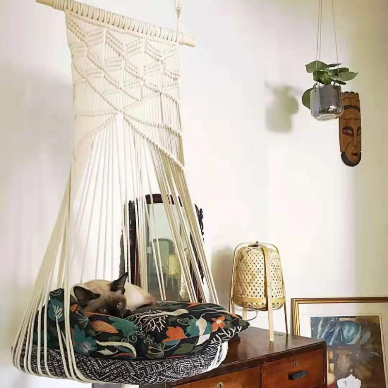 Boho Cat Swing Cage Handmade Macrame Pets Support Nordic Pet House Cats Hanging Sleep Chair Seats Toy Four Seasons Available(China)
