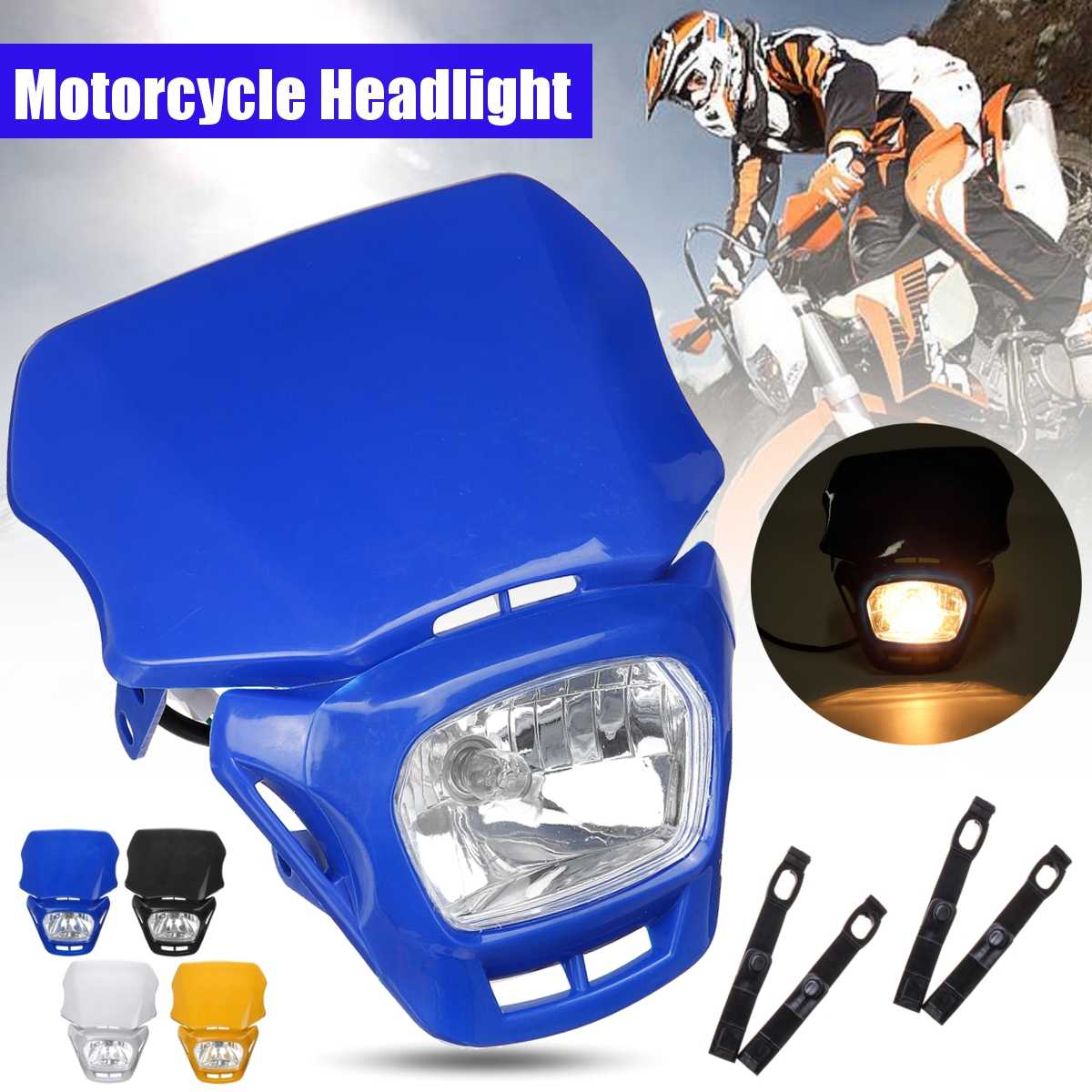<font><b>Universal</b></font> Motorcycle <font><b>Dirt</b></font> <font><b>Bike</b></font> <font><b>Headlight</b></font> Fairing for Dual Sport moto For KTM EXC EXCF XCF XCW SX/Honda/Kawasaki <font><b>HeadLight</b></font> lamp image