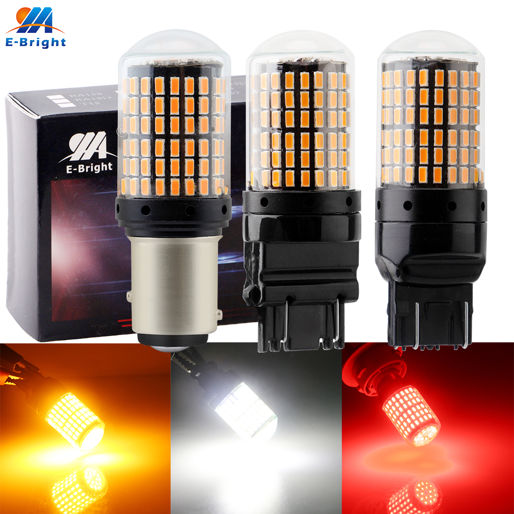2pcs 12V P21/5w 1157 BAY15D 3014 144 SMD 21W 3157 7443 T20 Canbus NO ERROR Led Bulbs For Car RV Boats For Brake NO Hyper Flash
