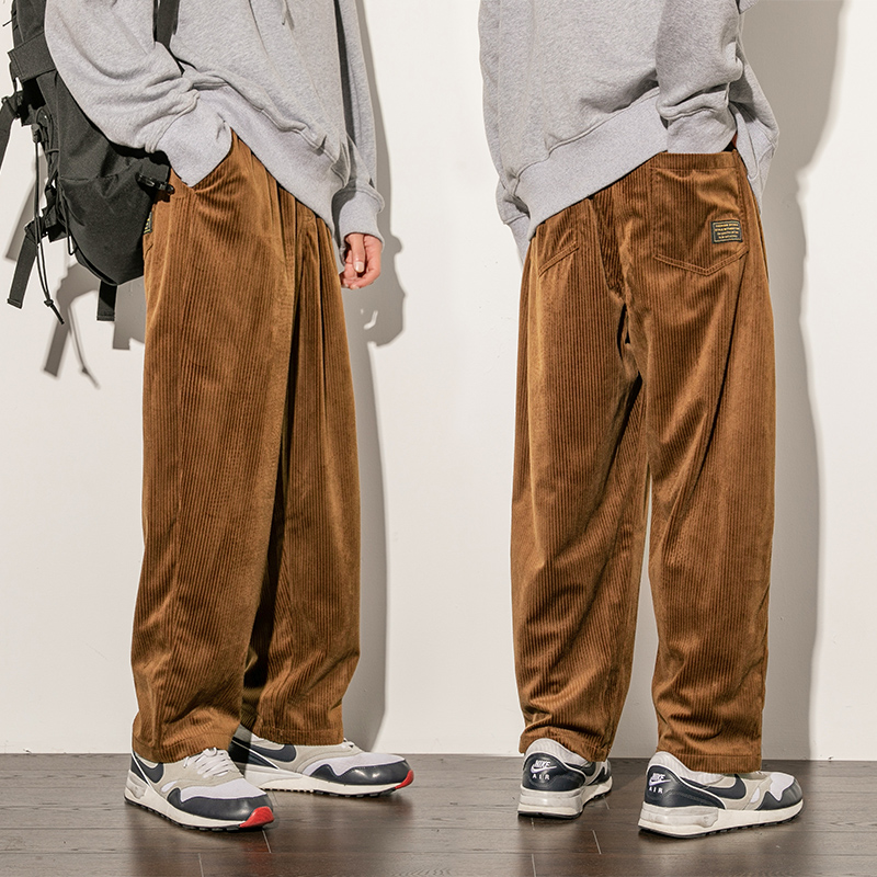 Corduroy pants men casual loose staight trousers mens joggers corduroy trousers male fashion autumn winter pant
