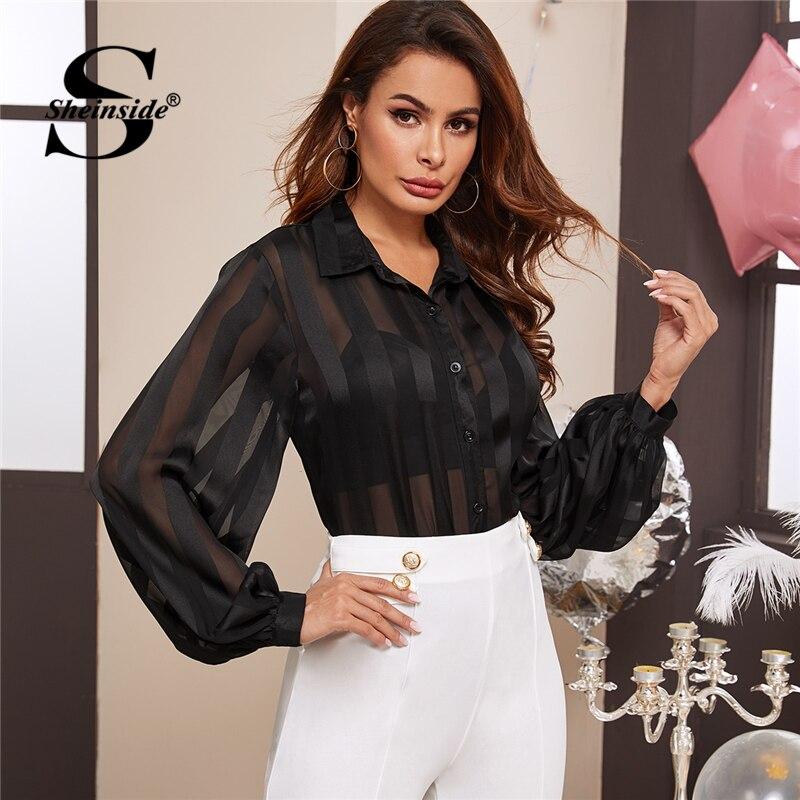 Sheinside Elegant Stripe Sheer Mesh Bishop Sleeve Blouse Shirt Women 2020 Spring Button Up Blouses Ladies Black Casual Top