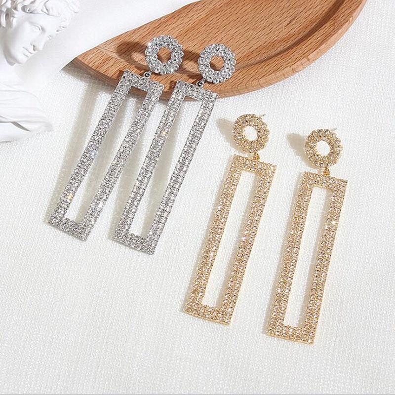 2019 Exaggerated Rhinestone Long Earrings Round Circle Pendant Earrings Rectangular Geometric Earrings For Women Wedding Jewelry