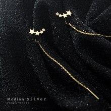 Modian новый 925 пробы серебро сердца cz простые звезды серьги