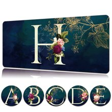 Flower Letter Large Office Mouse Pad Waterproof PU Leather Big Gaming Mouse Pad Non-slip Computer Mousepad Mouse Mat Gaming