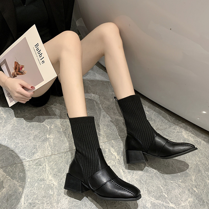 JUNSRM 2021 Winter Fall Women's Boots Square Toe Elastic Thick Heel 5cm Heels Shoes Woman Female Socks knitting Ankle Boots