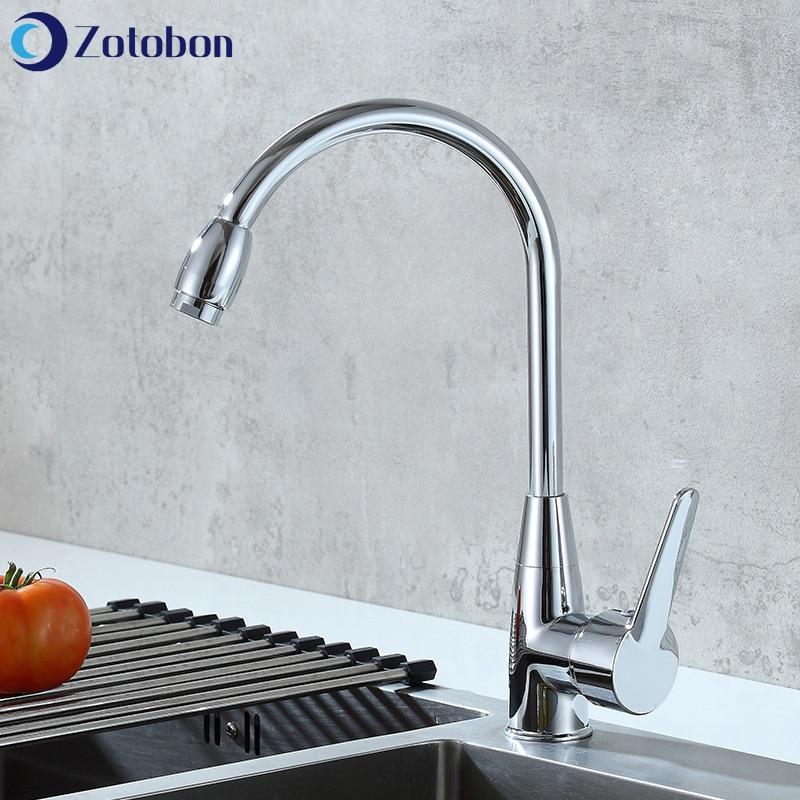 ZOTOBON кухонный кран вращение на 360 градусов кухонный носик смеситель холодной и горячей воды кран с одной ручкой на бортике краны для воды M168|Смесители для кухни|   | АлиЭкспресс