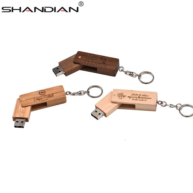 SHANDIAN 1PCS Free Custom Logo Personality Wooden USB Flash Drive Creative Gift Wood U Disk Bamboo Pendrive 4G 8GB 16GB 32GB Hot