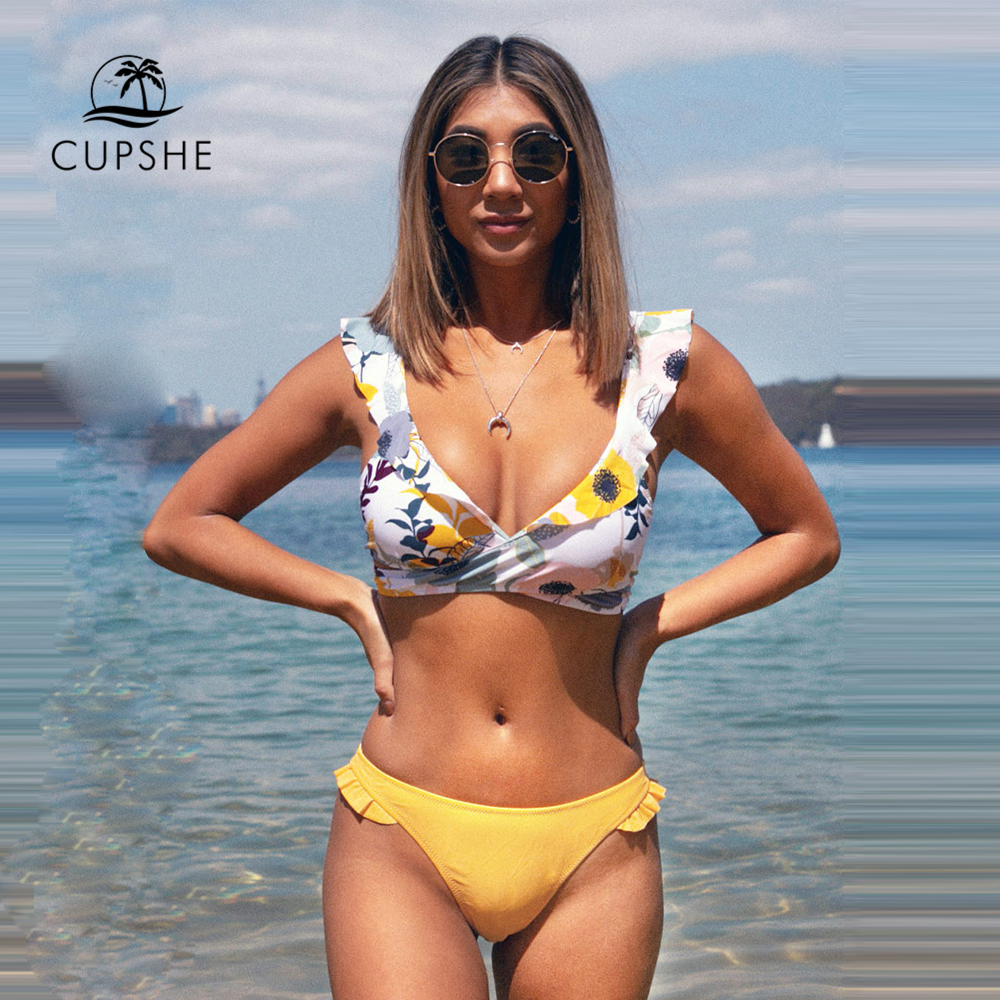 CUPSHE Ruffled Floral Wrap V-neck Bikini Sets Sexy Lace Up Bikinis Swimsuit Two Pieces Swimwear Women 2020 Beach Bathing Suit