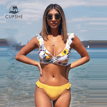 CUPSHE Ruffled Floral Wrap V neck Bikini Sets Sexy Lace Up Bikinis Swimsuit Two Pieces Swimwear Women 2020 Beach Bathing Suit