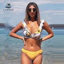 Cupshe Verstoorde Bloemen Wrap V hals Bikini Sets Sexy Lace Up Bikini Badpak Twee Stukken Badmode Vrouwen 2020 Beach Badpak