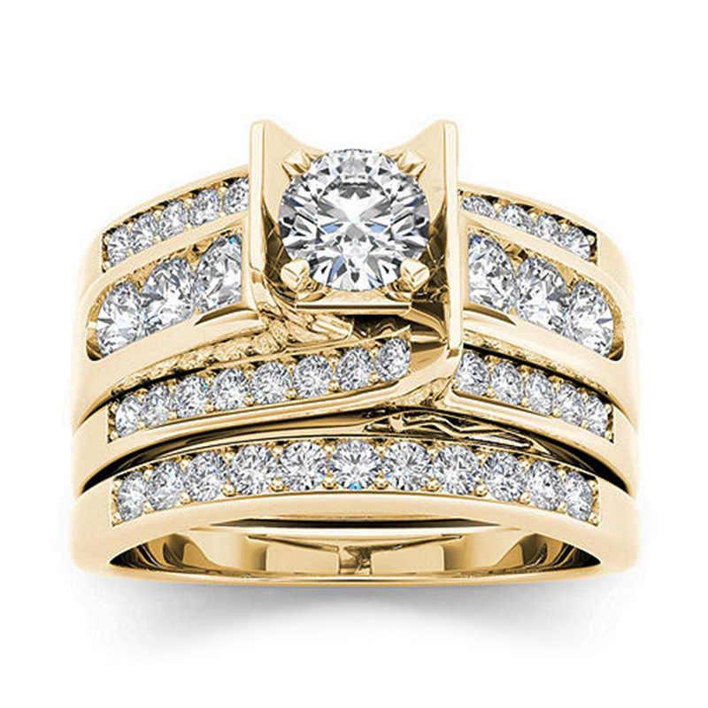 WUKALO 귀여운 여성 큰 지르콘 반지 세트 크리스탈 골드 컬러 신부의 반지 웨딩 쥬얼리 약속의 약혼 반지 여성을위한