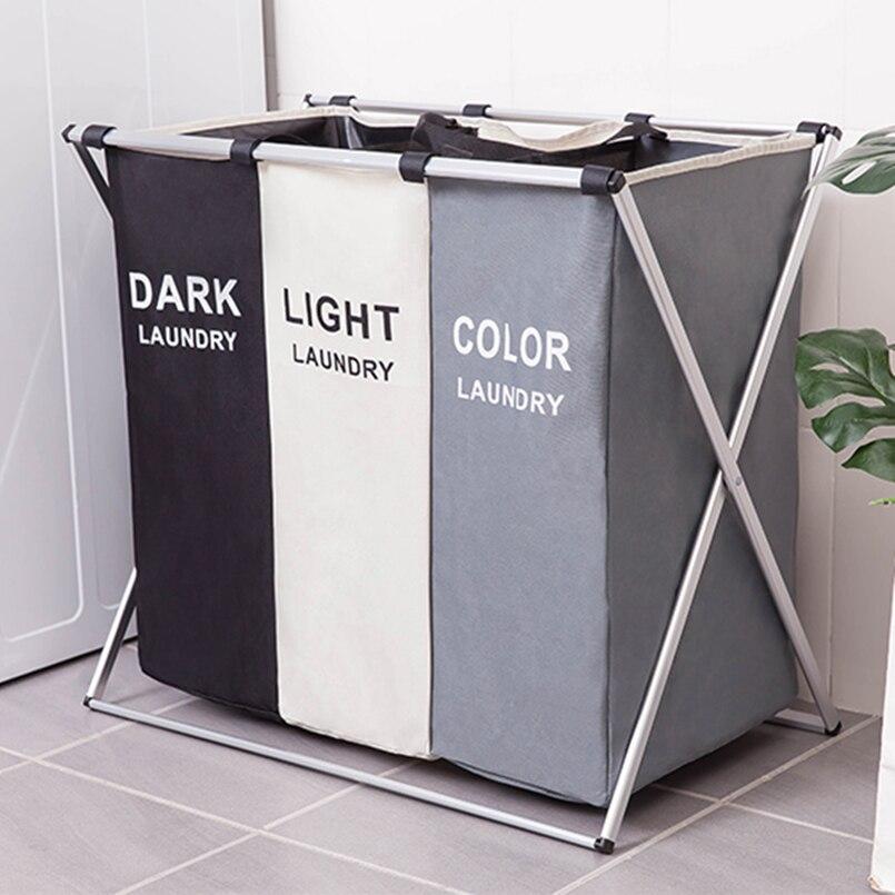 3 Sizes Foldable Dirty Laundry Basket Organizer Printed Collapsible Three Grid Home Laundry Hamper Sorter Laundry Basket Large