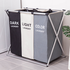 3 Sizes Foldable Dirty Laundry Basket Organizer Printed Collapsible Three Grid Home Laundry Hamper Sorter Laundry Basket Large