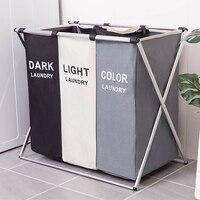 3 tamanhos dobrável sujo cesta de lavanderia organizador impresso dobrável três grade casa lavanderia cesto classificador cesta de lavanderia grande