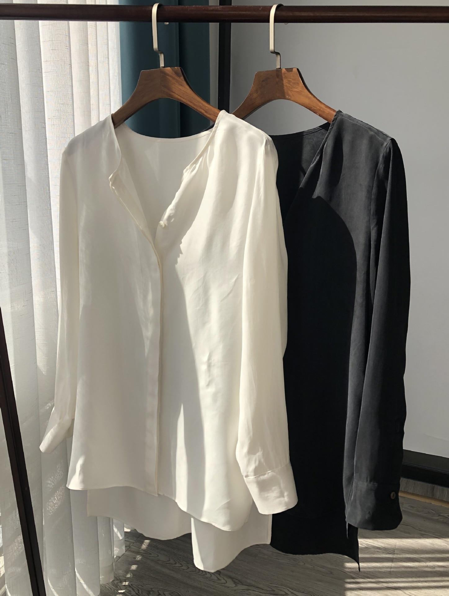 Chemise femme col rond patte ouverte longue cuivre ammoniaque chemise