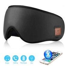 JINSERTA 3D sans fil Bluetooth casque doux sommeil masque pour les yeux stéréo musique casque avec micro Support mains libres pour Smartphone