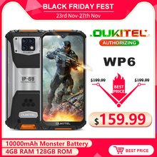 OUKITEL WP6 10000mAh 6.3'' FHD+ IP68 Waterproof Mobile Phone 4GB 128GB Octa Core 16MP