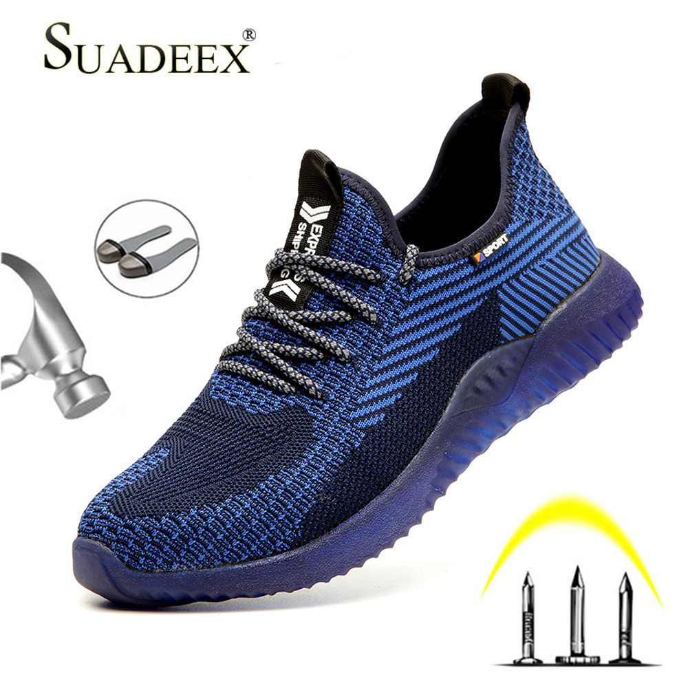 SUADEEX Men Steel Toe Safety Work Shoes Breathable Lightweight Comfortable Industrial Construction Shoes Puncture Proof Antislip