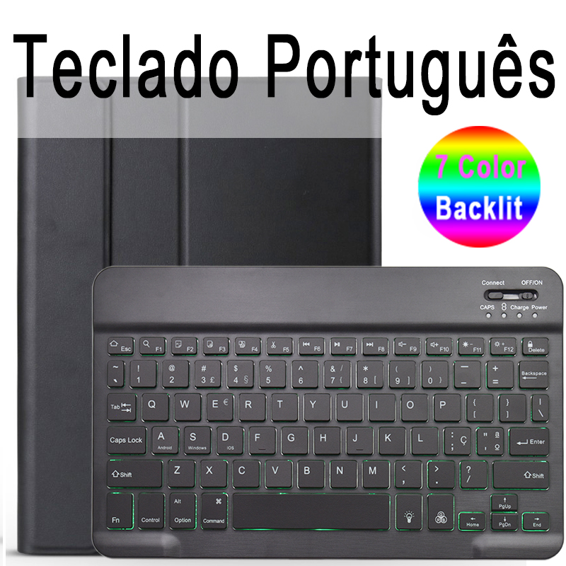 Portuguese Keyboard Camel For iPad 10 2 2019 7 7th 8th Generation A2200 A2198 A2197 Case with Backlit Keyboard