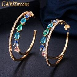 Cwwzircons círculo duplo arco-íris cor zircônia cúbica cristal grande redondo brincos de argola de ouro para mulher jóias de afirmação cz562