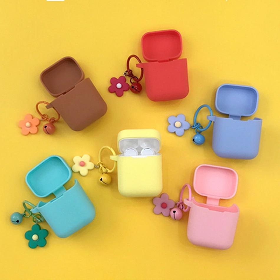 For Xiaomi Mi True Wireless Earphones Air Lite Case For Xiaomi Airdots Pro case fashion Flower Pendant Keychain Silicone Cover