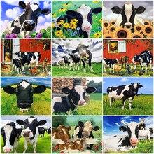 Huacan pintura a óleo por número vaca desenho sobre tela handpaintedart presente imagens por número kits animais decoração de casa